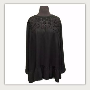 Ellos Plus Sz 1X woven Rayon Embroidered Top NEW